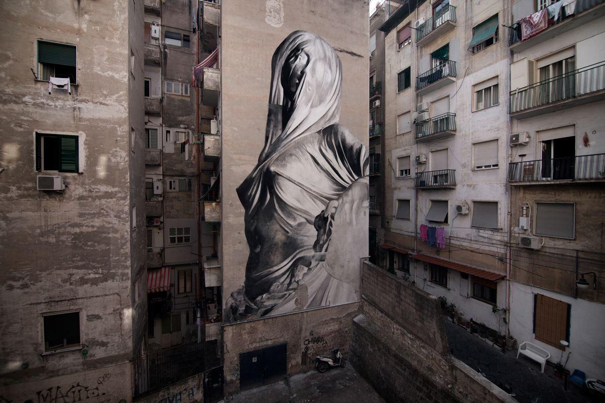 bosoletti murale basilique streetart peinture eglise arturbain vierge AlessiaDaRisio - Les peintures murales de Bosoletti se révèlent en négatif