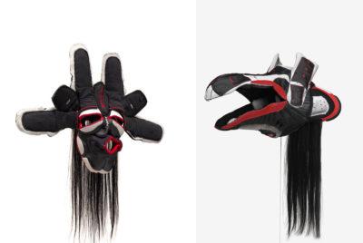 brian jungen air jordan masque duo facebook 400x268 - Brian Jungen fait de vos sneakers préférées des masques traditionnels