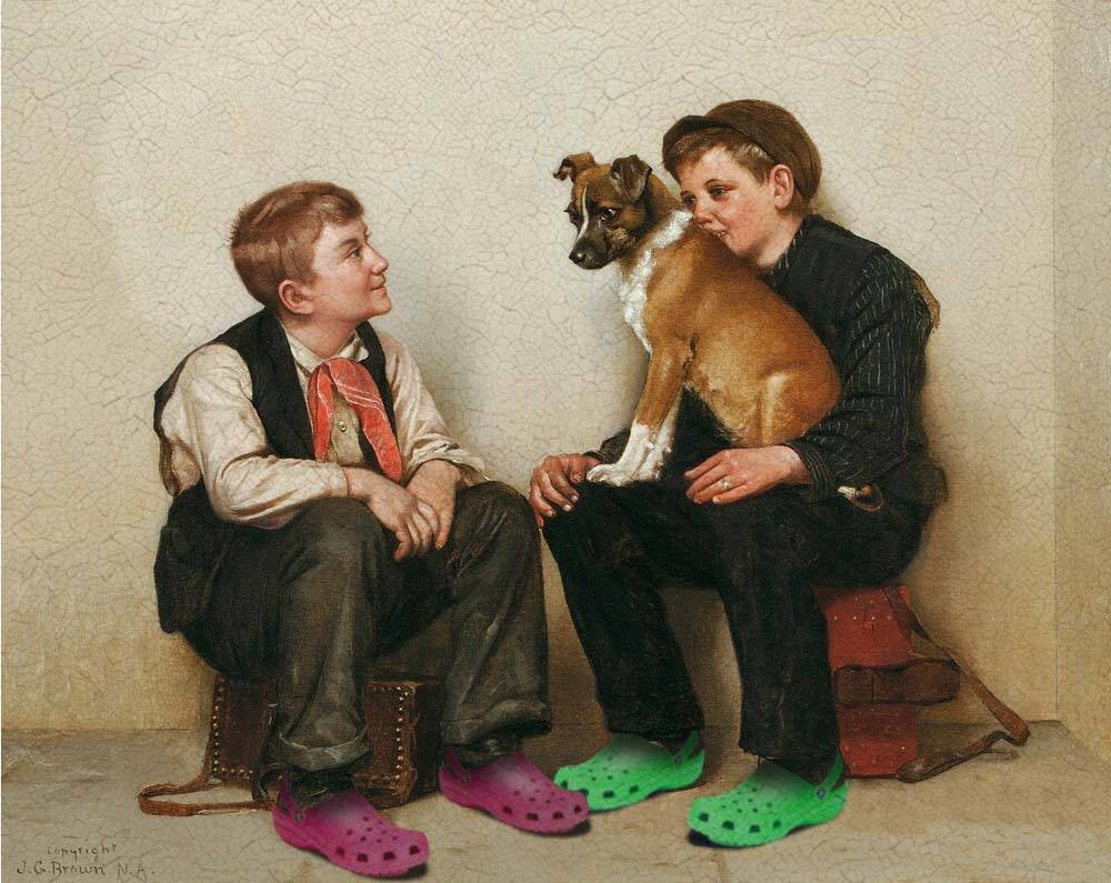 chien crocs thorislausset peintureclassique detournement - Painting update : les peintures classiques revisitées avec beaucoup d'humour et de modernité