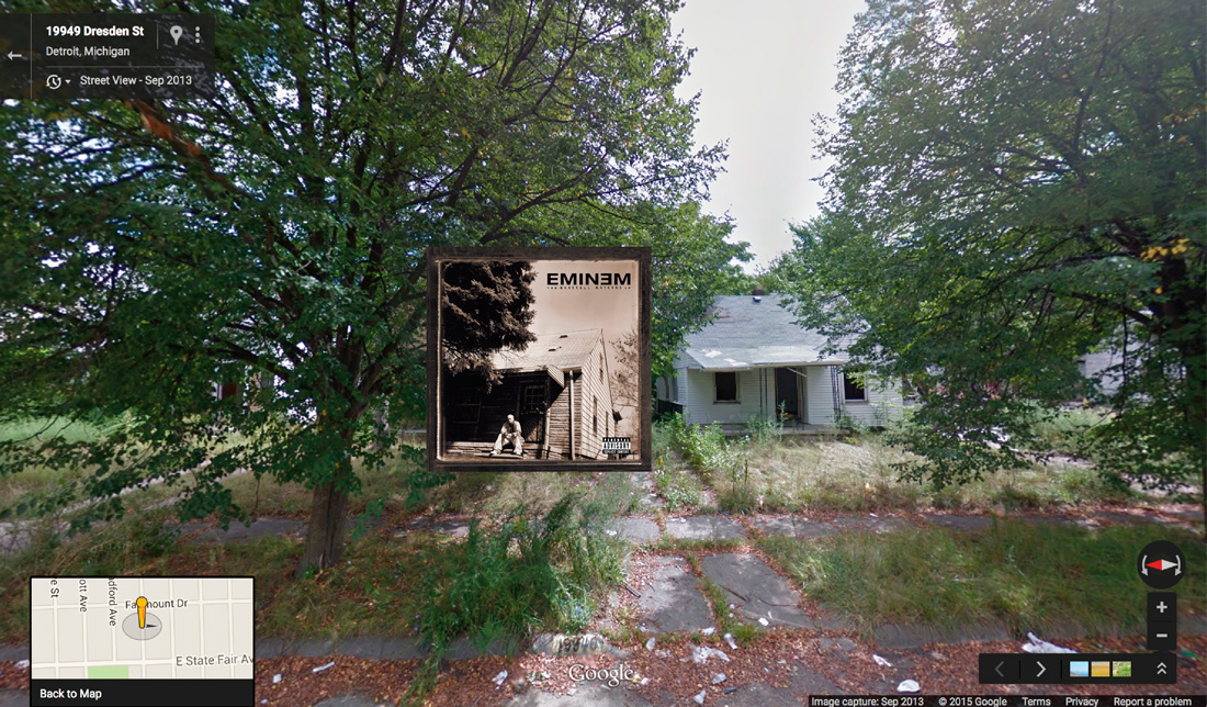 eminem hiphop cover pochette vinyle street view google radar urban - Les covers des plus grands albums hip-hop prennent vie dans Googe Street view