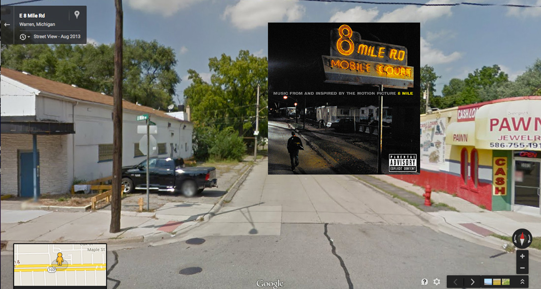 emineme 8miles hiphop cover pochette vinyle street view google radar urban - Les covers des plus grands albums hip-hop prennent vie dans Googe Street view