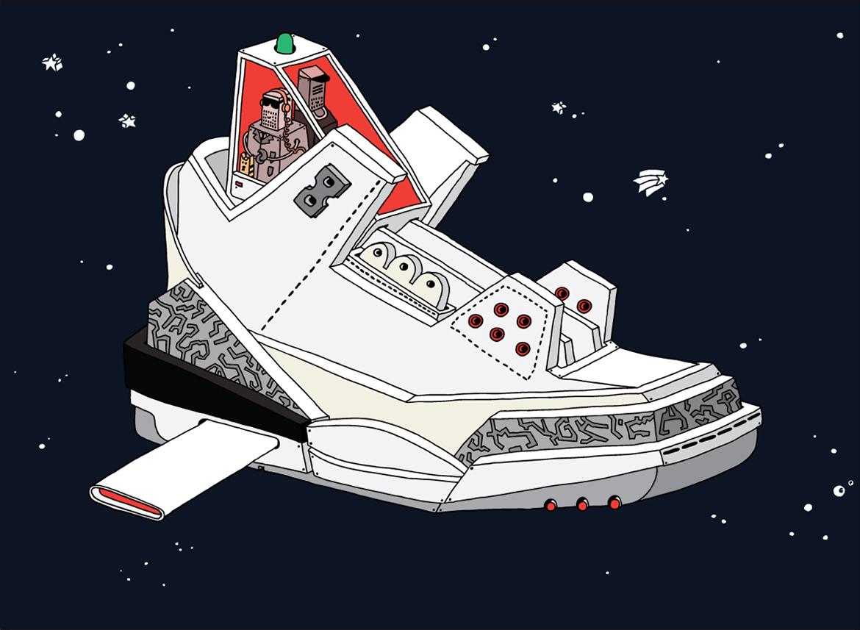 ghica popa illustration art sneakers basket - L'illustrateur Ghica Popa transforme des sneakers en vaisseaux spatiaux