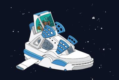 ghica popa illustration sneaker art nike adidas new balance 400x268 - L'illustrateur Ghica Popa transforme des sneakers en vaisseaux spatiaux