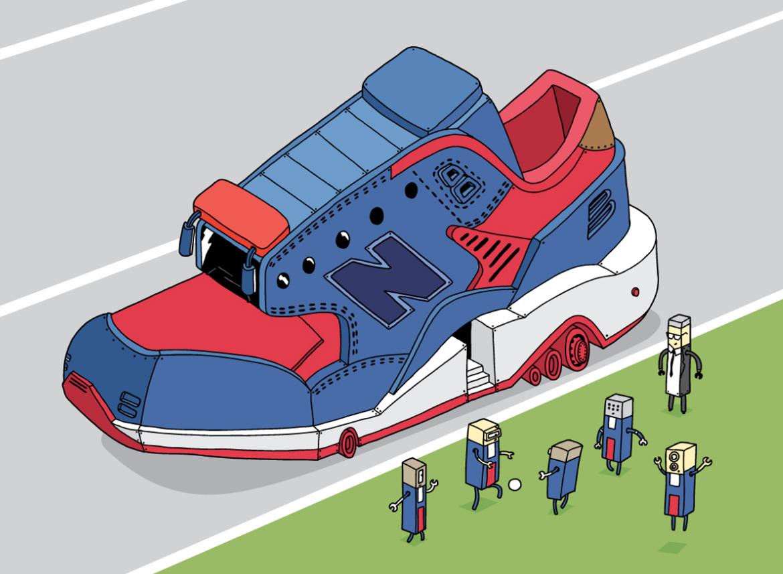 ghica popa illustration sneakers new balance baskets art 1 - L'illustrateur Ghica Popa transforme des sneakers en vaisseaux spatiaux