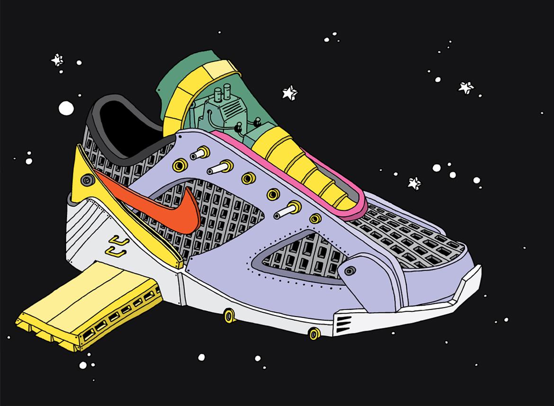 ghica popa nike sneakers art illustration basket - L'illustrateur Ghica Popa transforme des sneakers en vaisseaux spatiaux