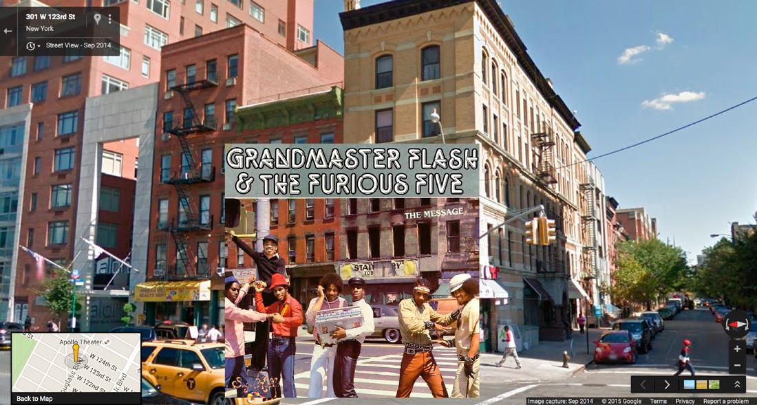 grandmasterflash hiphop cover pochette vinyle street view google radar urban - Les covers des plus grands albums hip-hop prennent vie dans Googe Street view
