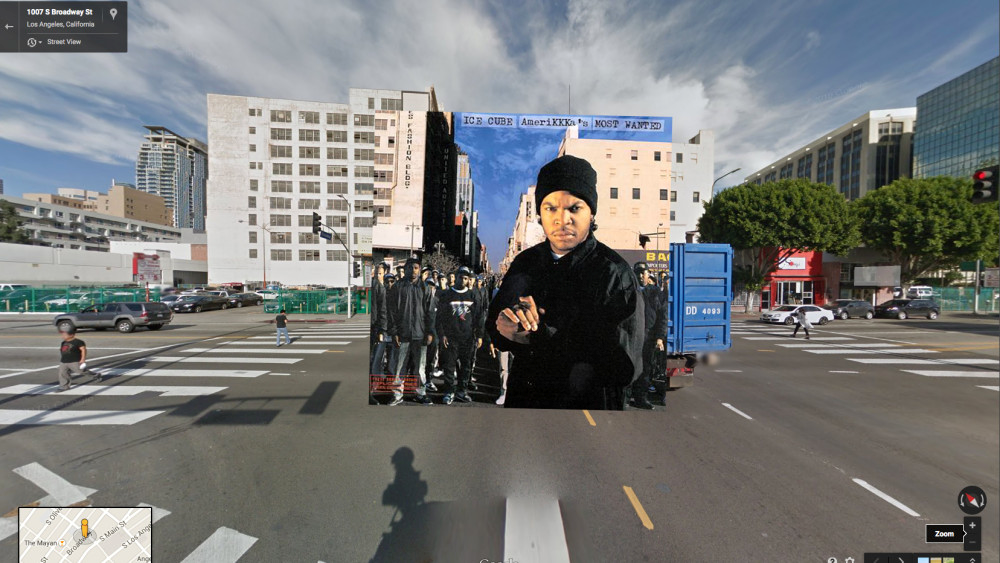 ice cube hiphop cover pochette vinyle street view google radar urban maps - Les covers des plus grands albums hip-hop prennent vie dans Googe Street view