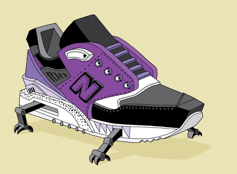illustration new balance ghica popa art dessin sneakers basket 1 - L'illustrateur Ghica Popa transforme des sneakers en vaisseaux spatiaux