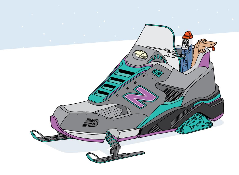 illustration sneakers new balance art detournement motoneige 1 - L'illustrateur Ghica Popa transforme des sneakers en vaisseaux spatiaux
