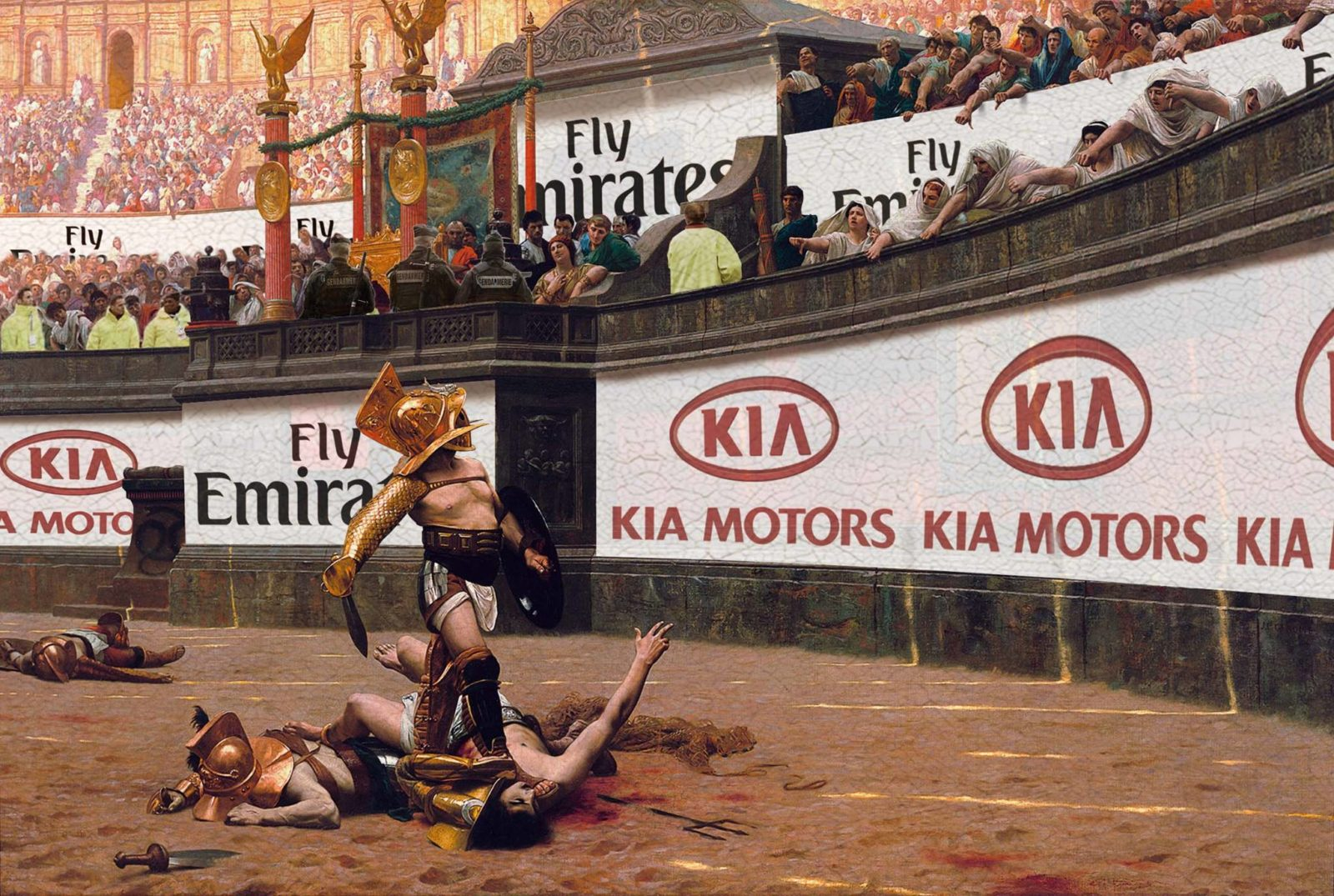 kia flyemirates gladiateurs thorislausset detournement tableau peintureclassique - Painting update : les peintures classiques revisitées avec beaucoup d'humour et de modernité