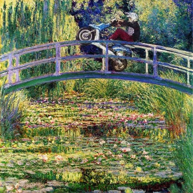 monet nenuphar scooter wheeling thorislausset detournement tableau peintureclassique - Painting update : les peintures classiques revisitées avec beaucoup d'humour et de modernité