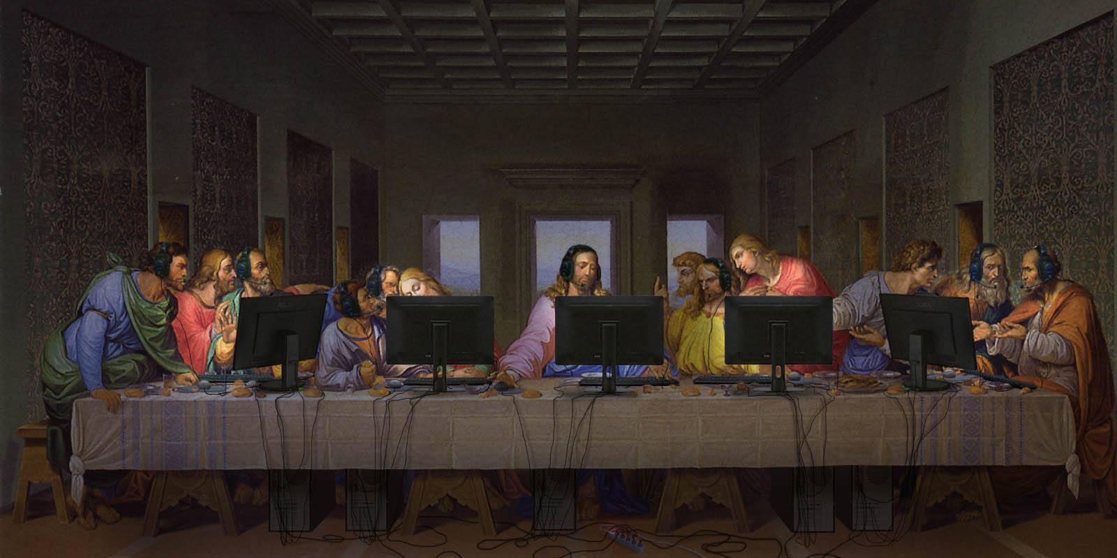 ordinateur jesuschrist thorislausset peintureclassique lacene detournement - Painting update : les peintures classiques revisitées avec beaucoup d'humour et de modernité