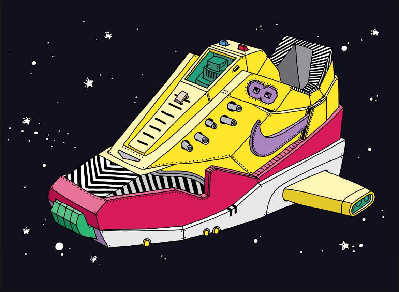 popa ghica sneakers art illustration nike - L'illustrateur Ghica Popa transforme des sneakers en vaisseaux spatiaux