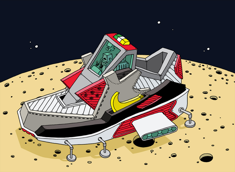popa ghica sneakers art nike illustration dessin - L'illustrateur Ghica Popa transforme des sneakers en vaisseaux spatiaux