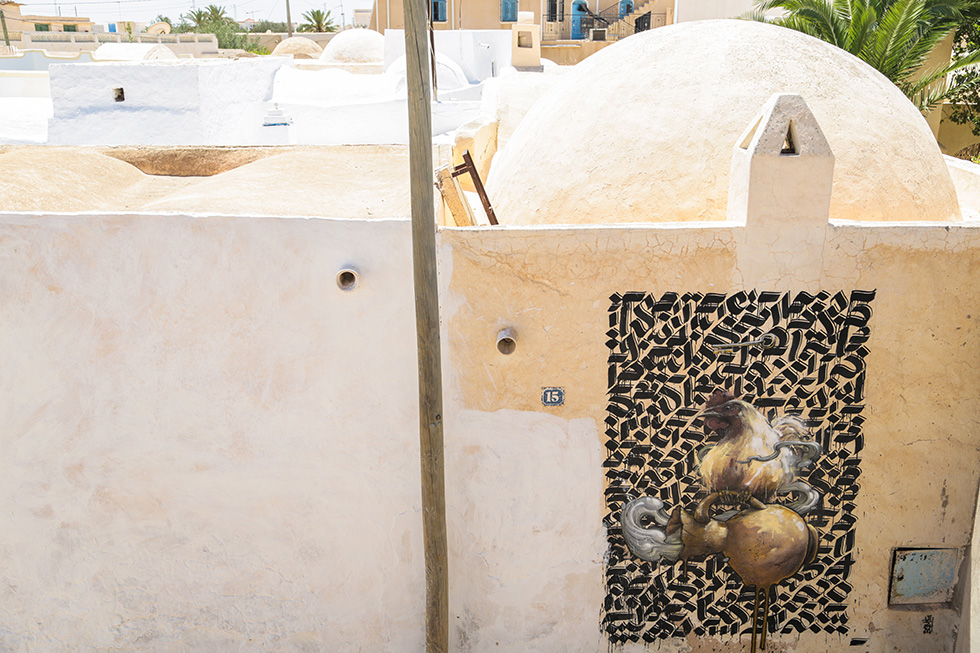 shoof bomk djerbahood tunisie street art galerie village fresque poule - Sur l'île de Djerba, un petit village tunisien porte haut les couleurs du street art