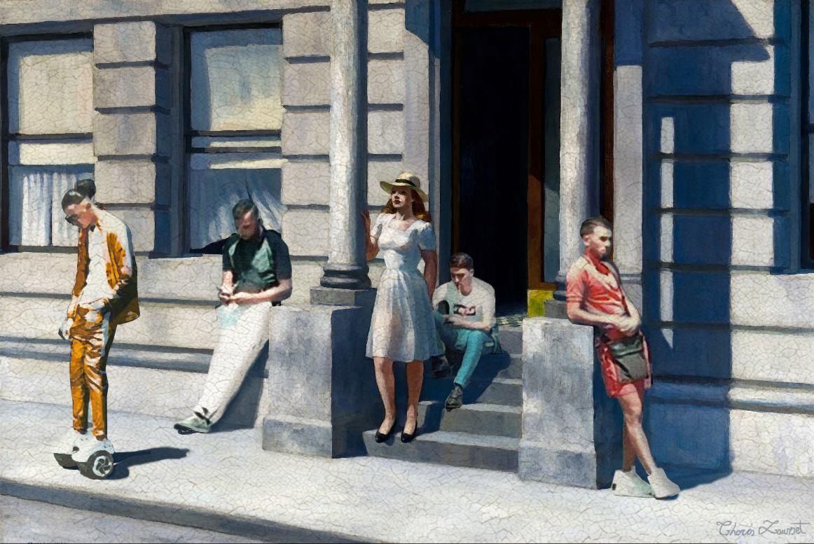 street rue banlieue jogging detournement ThorisLausset Edwardhopper peinture - Painting update : les peintures classiques revisitées avec beaucoup d'humour et de modernité