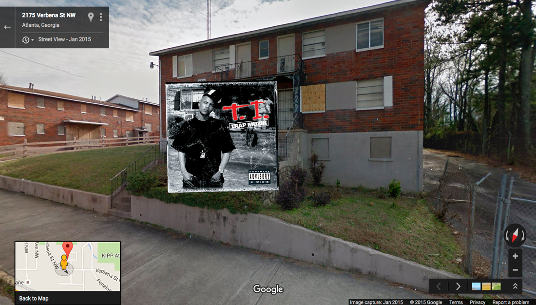 ti trap hiphop cover pochette vinyle street view google radar urban - Les covers des plus grands albums hip-hop prennent vie dans Googe Street view