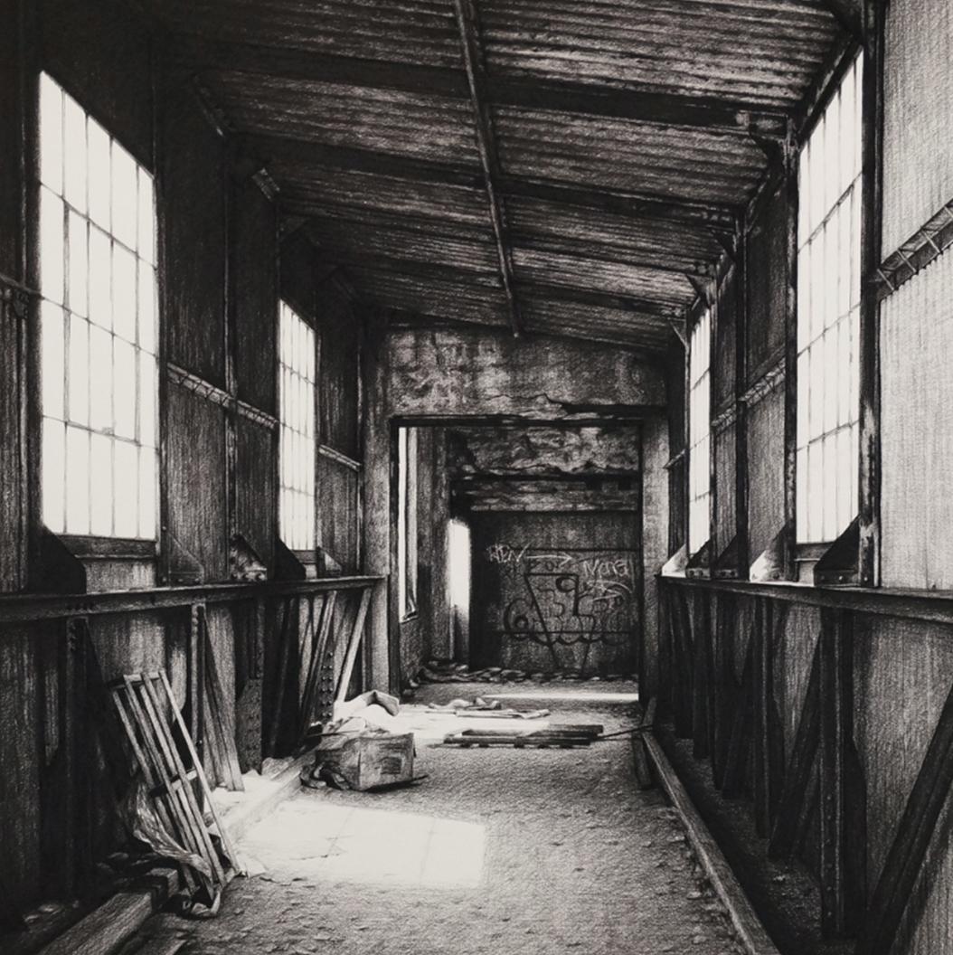 stephanie buer dessin fusain detroit urbex - L'artiste Stéphanie Buer peint des lieux abandonnés avec un réalisme stupéfiant