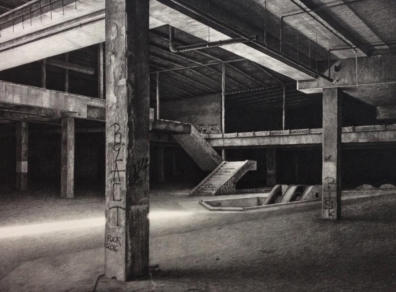 stephanie buer fusain dessin urbex detroit - L'artiste Stéphanie Buer peint des lieux abandonnés avec un réalisme stupéfiant