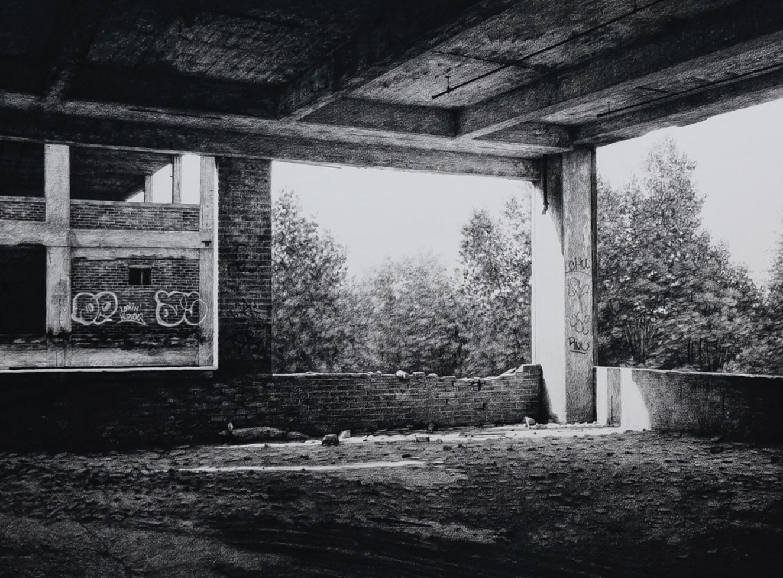 stephanie buer fusain detroit urbex dessin - L'artiste Stéphanie Buer peint des lieux abandonnés avec un réalisme stupéfiant
