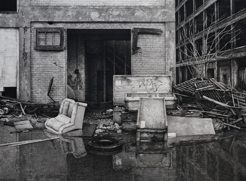 stephanie buer fusain urbex detroit - L'artiste Stéphanie Buer peint des lieux abandonnés avec un réalisme stupéfiant