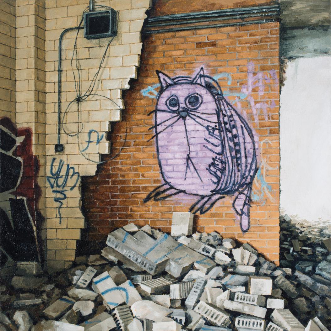stephanie buer urbex detroit chat peinture - L'artiste Stéphanie Buer peint des lieux abandonnés avec un réalisme stupéfiant