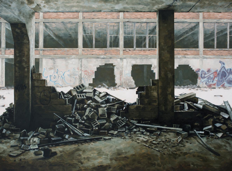 stephanie buer urbex detroit parpaings peinture - L'artiste Stéphanie Buer peint des lieux abandonnés avec un réalisme stupéfiant