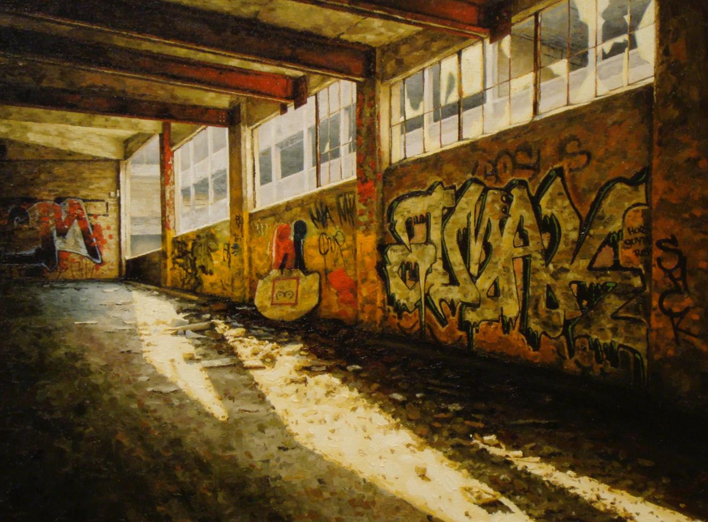 stephanie buer urbex usine peinture detroit - L'artiste Stéphanie Buer peint des lieux abandonnés avec un réalisme stupéfiant