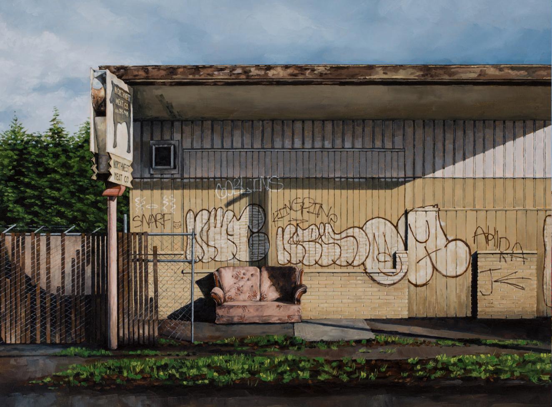 urbex stephanie buer detroit peinture canape - L'artiste Stéphanie Buer peint des lieux abandonnés avec un réalisme stupéfiant