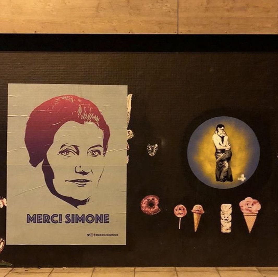 Merci simone mur affiche paris - Merci Simone, le collectif qui affiche Simone Veil sur les murs de la ville