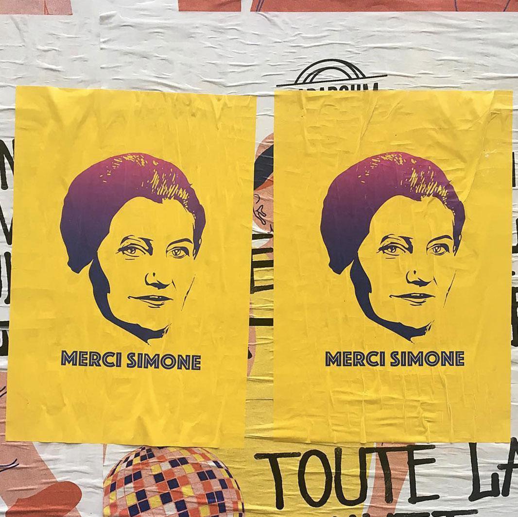 affiches merci simone veil rues - Merci Simone, le collectif qui affiche Simone Veil sur les murs de la ville