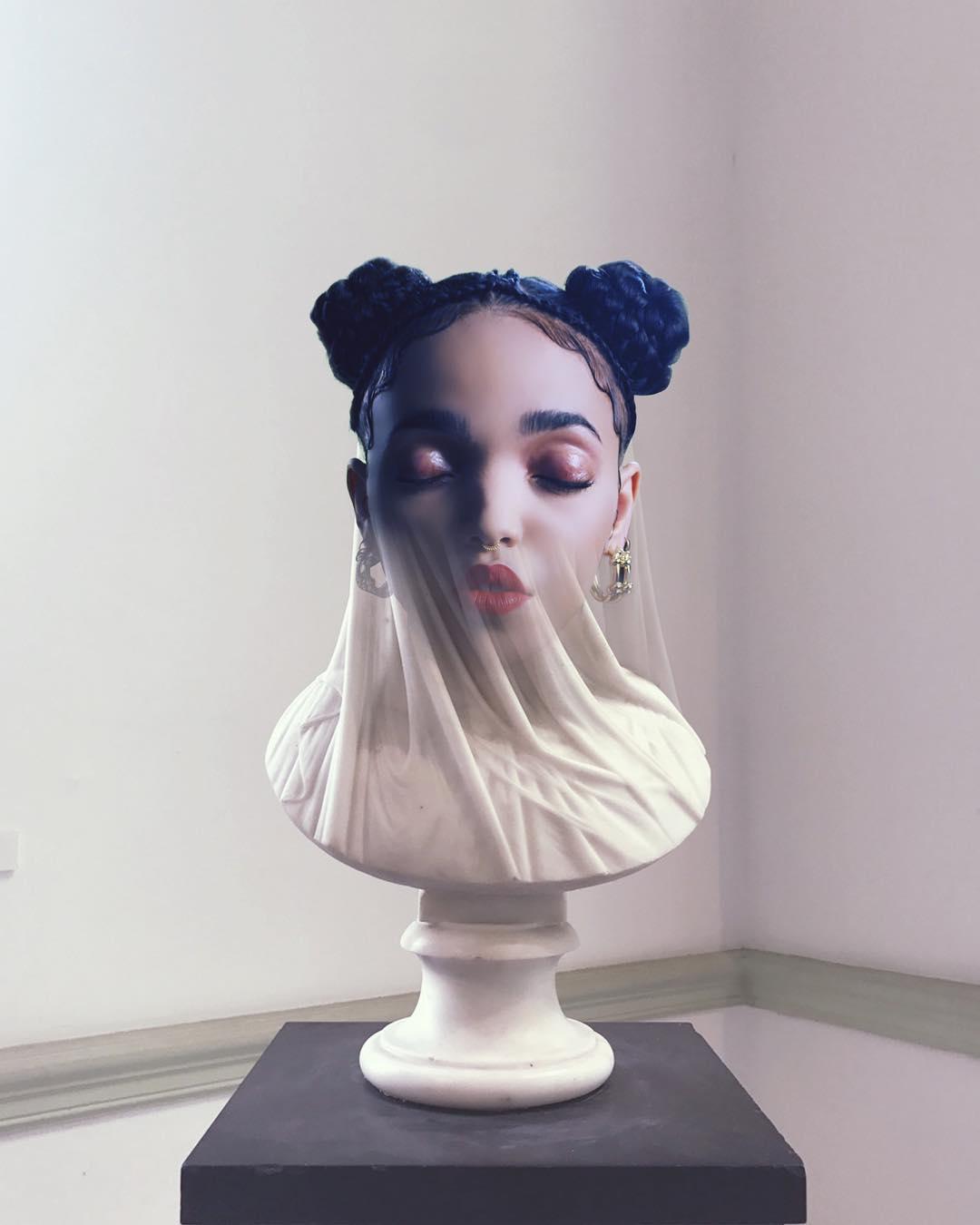 fkatwigs twigs slimesunday buste marbre - Focus sur les effets digitaux et les larmes fluos de Slime Sunday