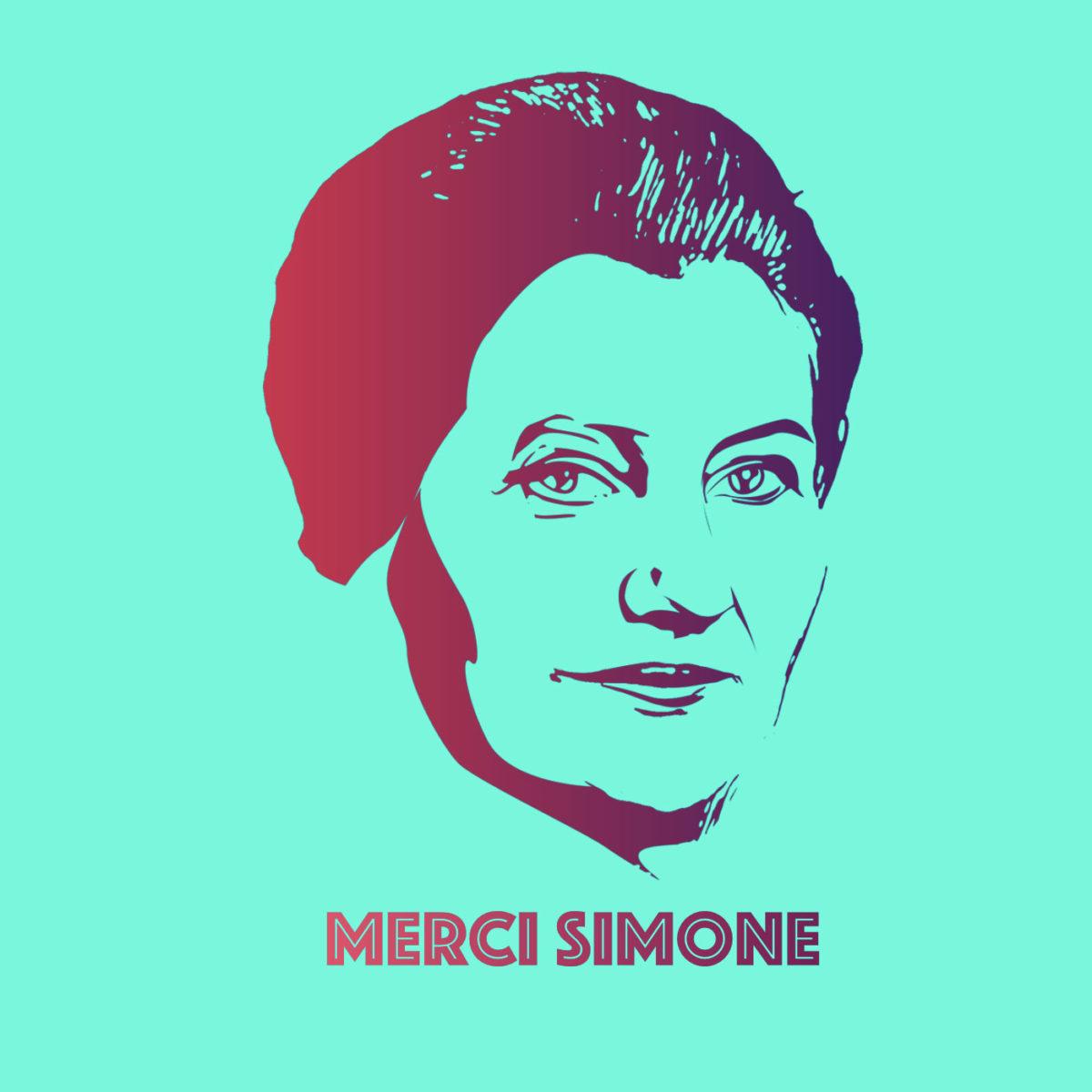 merci simone bleu pochoir - Merci Simone, le collectif qui affiche Simone Veil sur les murs de la ville