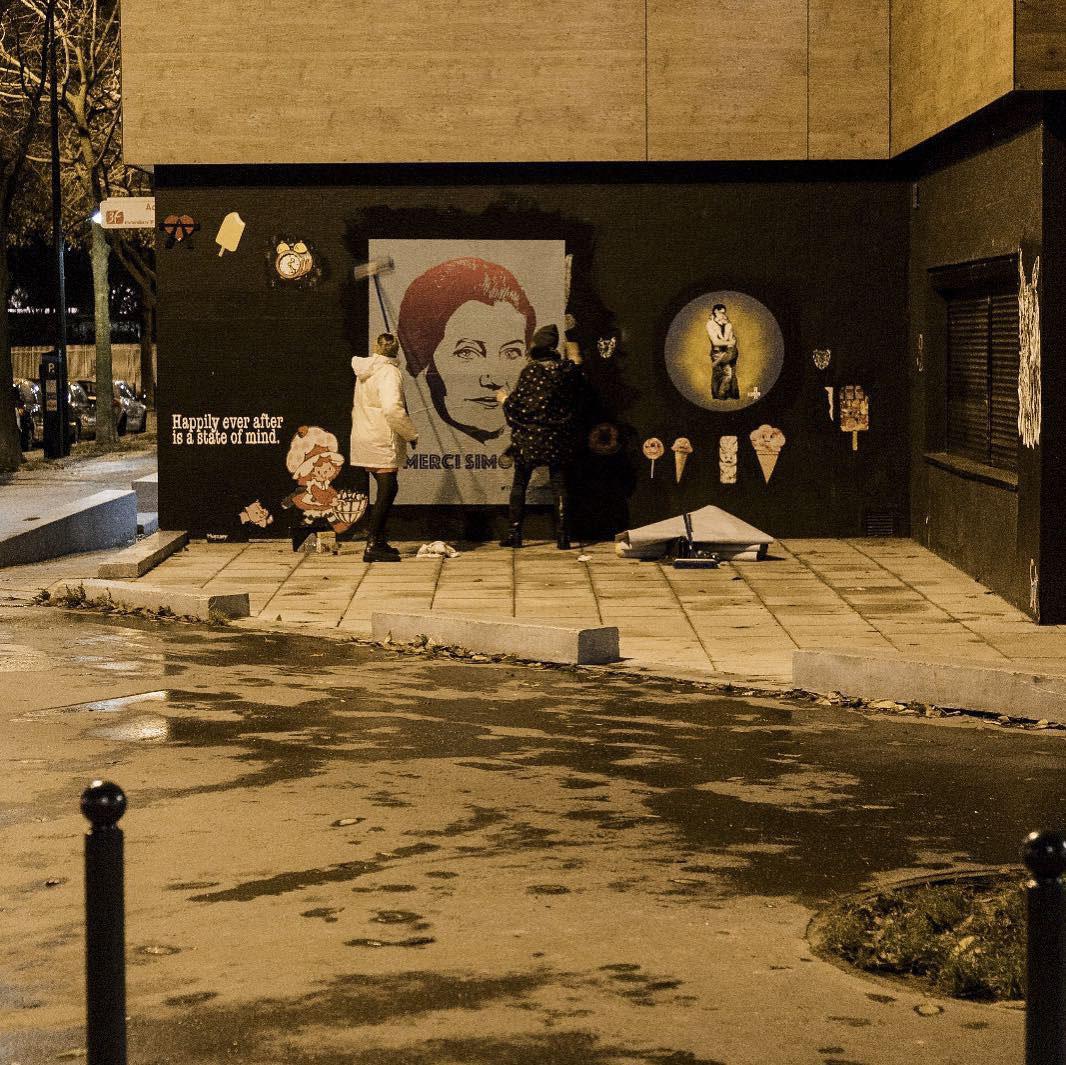 merci simone street art collectif - Merci Simone, le collectif qui affiche Simone Veil sur les murs de la ville