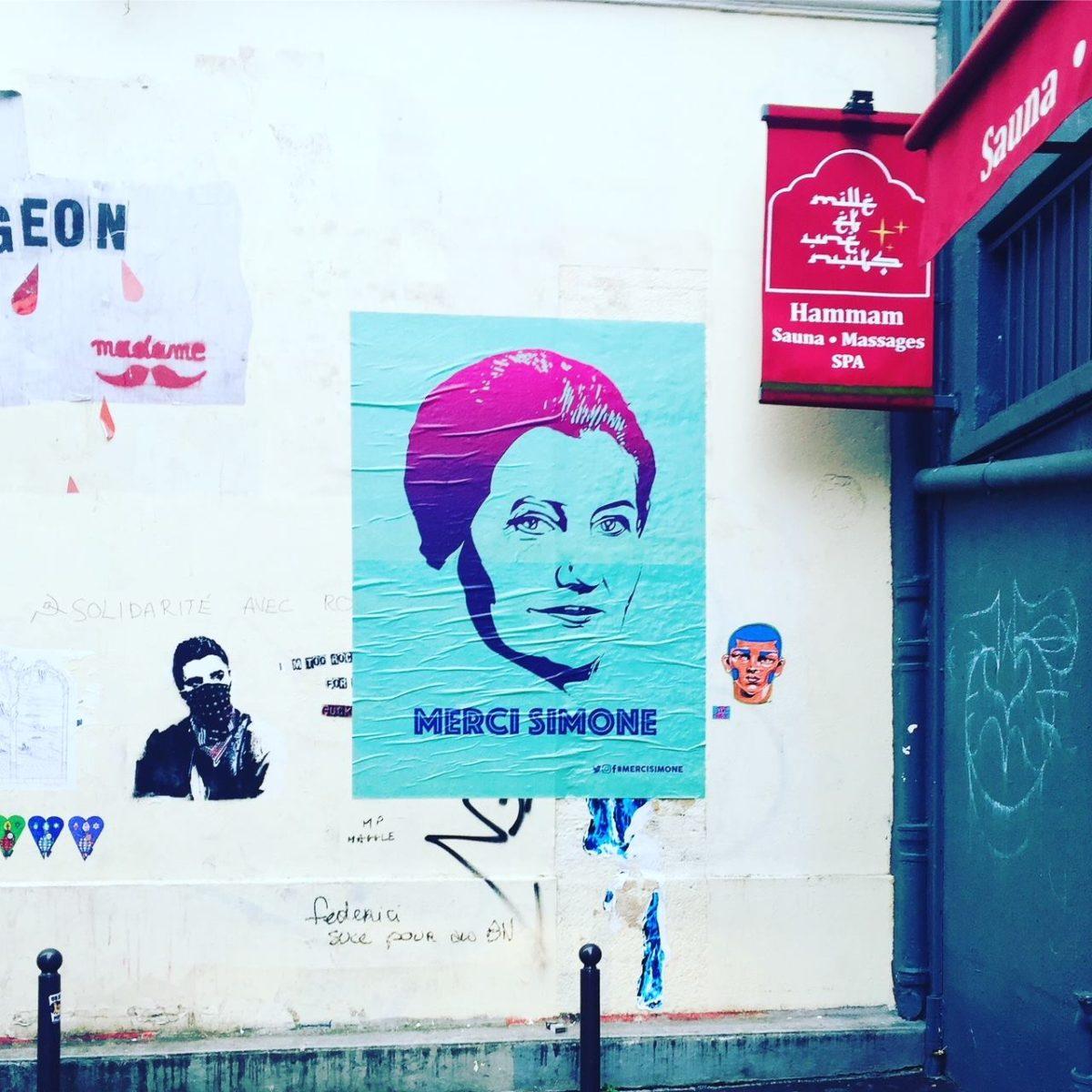 merci simone veil affiches paris - Merci Simone, le collectif qui affiche Simone Veil sur les murs de la ville