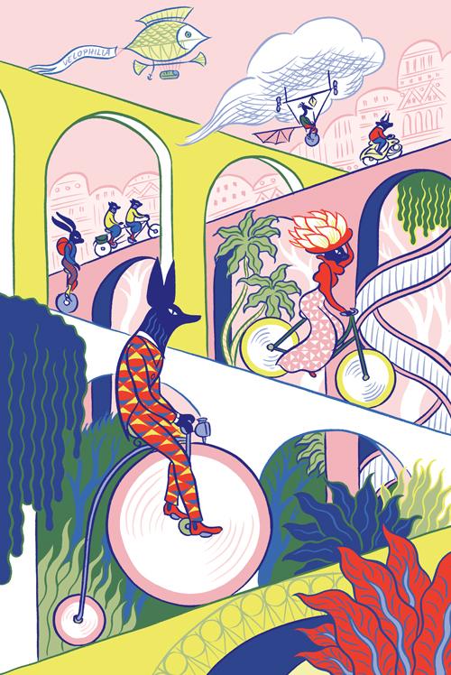 sarah loulendo oboem illustration velophilia - Coup de pouce RADAR x Ulule : Ôboem veut transformer l'affichage publicitaire en galerie d'art