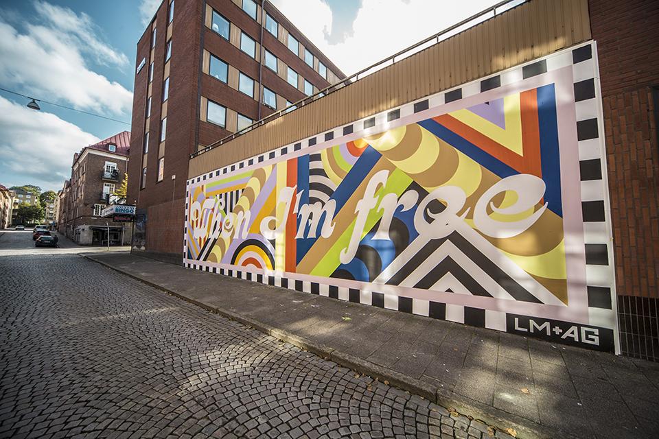 """Lakwena boras suede street art mur when im free couleurs message vue ville - La ville suédoise Borås accueille le festival de street art """"No Limit"""""""