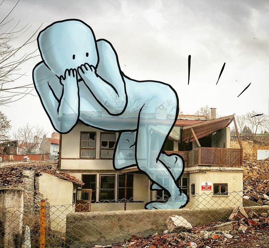 """Lilliputs series giants hakan keles architecture - L'illustrateur Hakan Keleş fait entrer des géants dans la ville avec """"Lilliput series"""""""