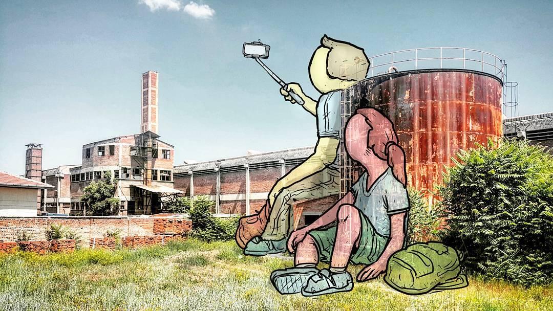"""hakan keles lilliput series couple selfie - L'illustrateur Hakan Keleş fait entrer des géants dans la ville avec """"Lilliput series"""""""