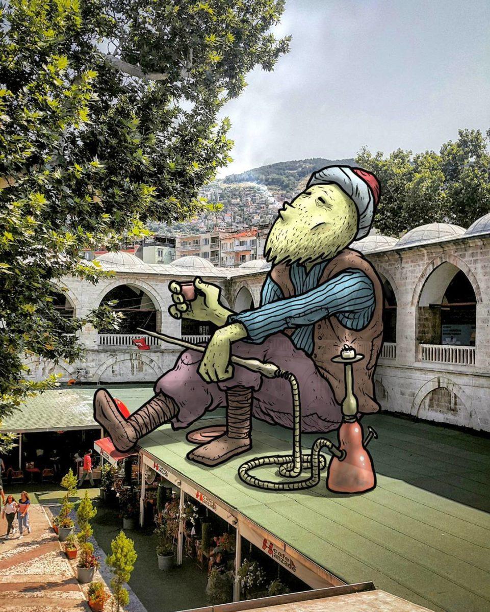 """hakan keles lilliput series fumeur chicha - L'illustrateur Hakan Keleş fait entrer des géants dans la ville avec """"Lilliput series"""""""