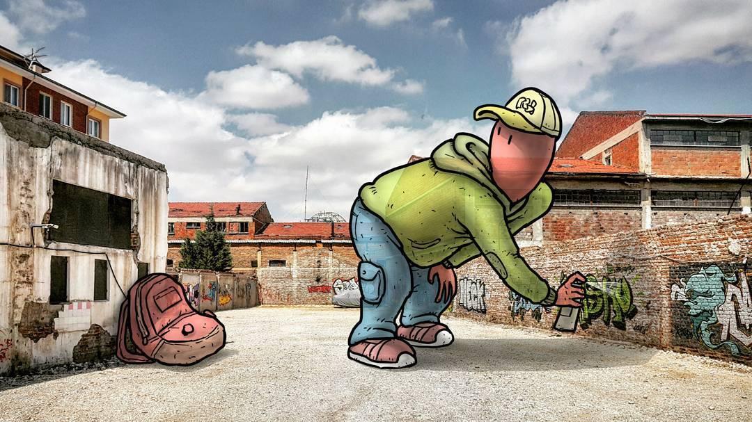 """hakan keles lilliput series graffeur - L'illustrateur Hakan Keleş fait entrer des géants dans la ville avec """"Lilliput series"""""""