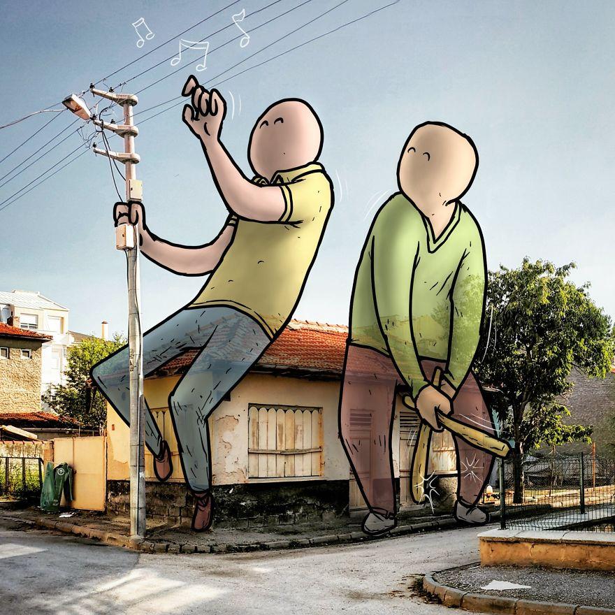 """hakan keles lilliput series musiciens - L'illustrateur Hakan Keleş fait entrer des géants dans la ville avec """"Lilliput series"""""""