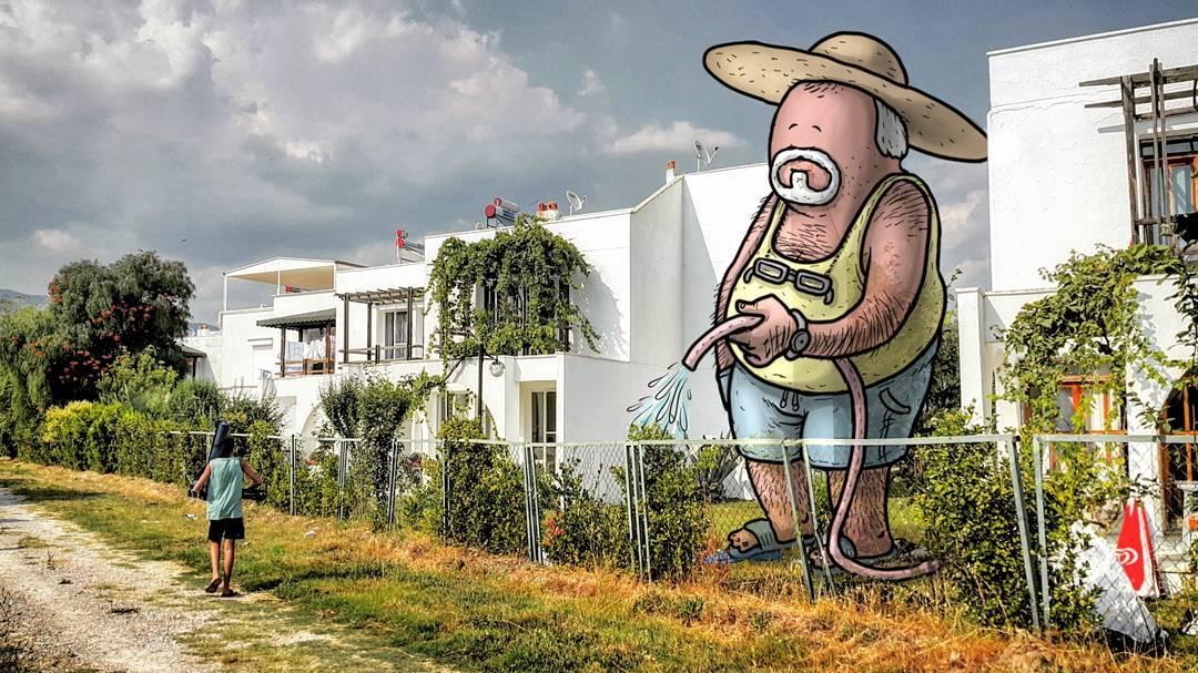 """hakan keles lilliput series papy arroseur - L'illustrateur Hakan Keleş fait entrer des géants dans la ville avec """"Lilliput series"""""""