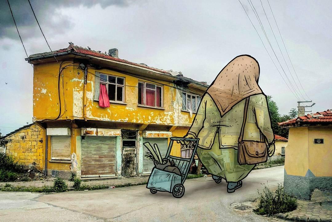 """hakan keles lilliput series passante chariot - L'illustrateur Hakan Keleş fait entrer des géants dans la ville avec """"Lilliput series"""""""