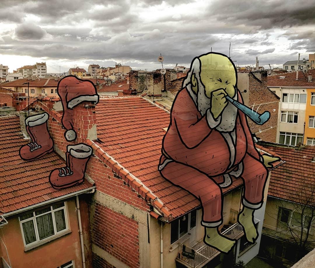 """hakan keles lilliput series pere noel - L'illustrateur Hakan Keleş fait entrer des géants dans la ville avec """"Lilliput series"""""""