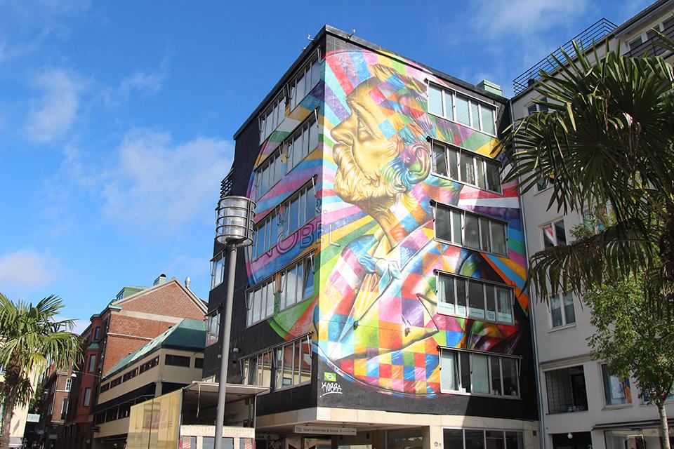 """kobra boras suede street art mur mosaique couleurs portrait homme - La ville suédoise Borås accueille le festival de street art """"No Limit"""""""