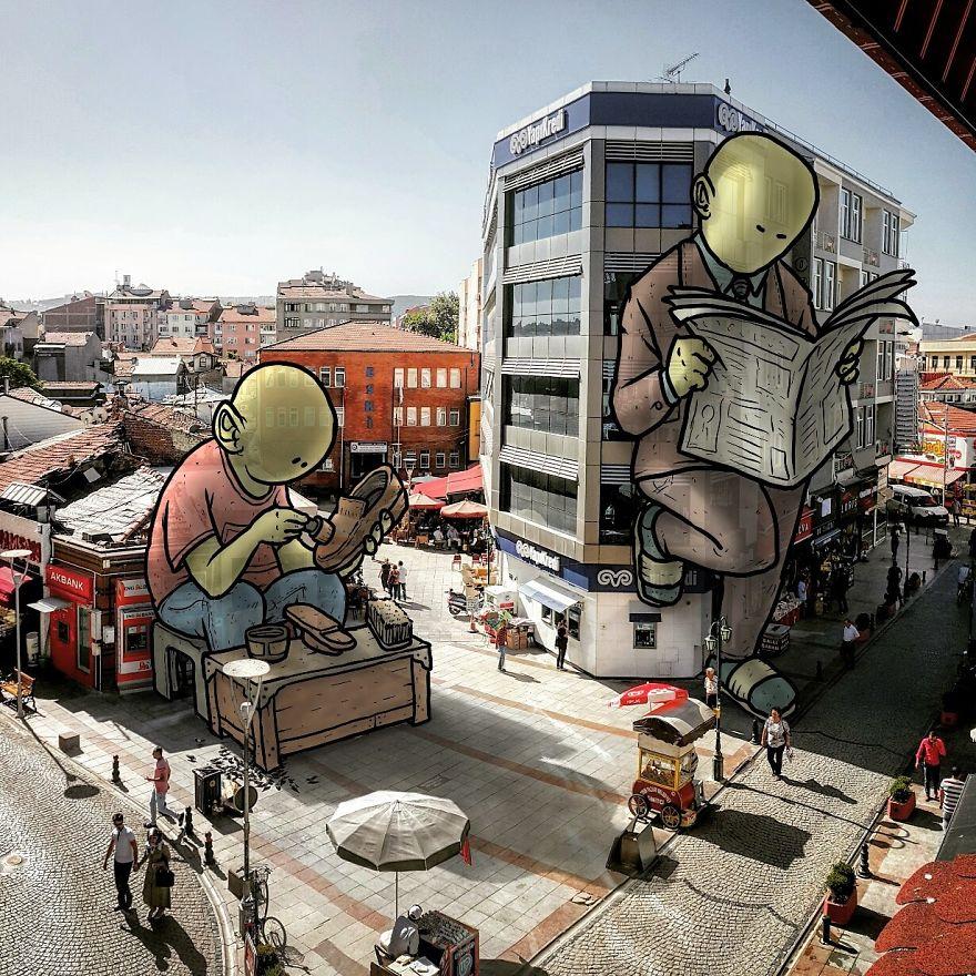 """lilliput series hakan keles cireur chaussures - L'illustrateur Hakan Keleş fait entrer des géants dans la ville avec """"Lilliput series"""""""
