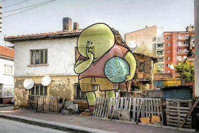 """lilliput series hakan keles enfant ballon cover 400x268 - L'illustrateur Hakan Keleş fait entrer des géants dans la ville avec """"Lilliput series"""""""
