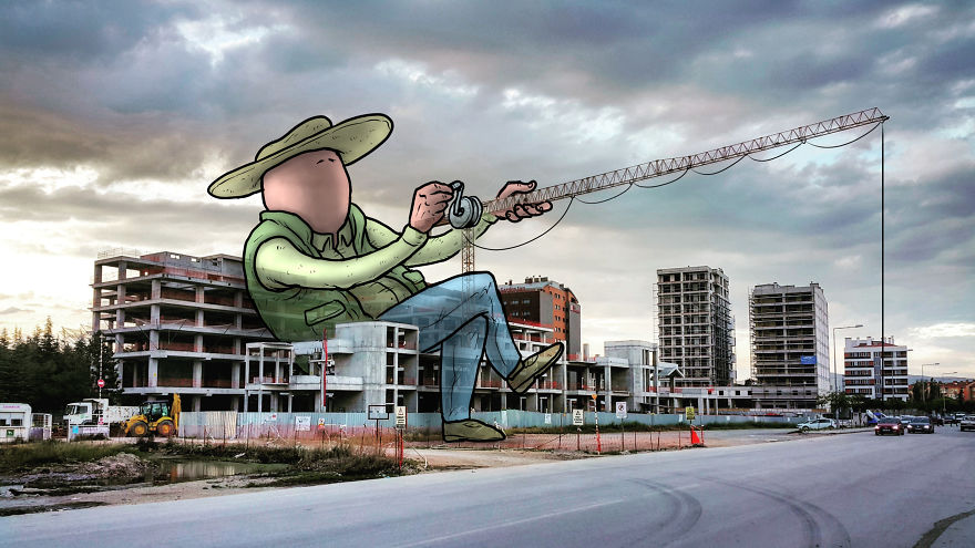 """lilliput series hakan keles geant pcheur - L'illustrateur Hakan Keleş fait entrer des géants dans la ville avec """"Lilliput series"""""""