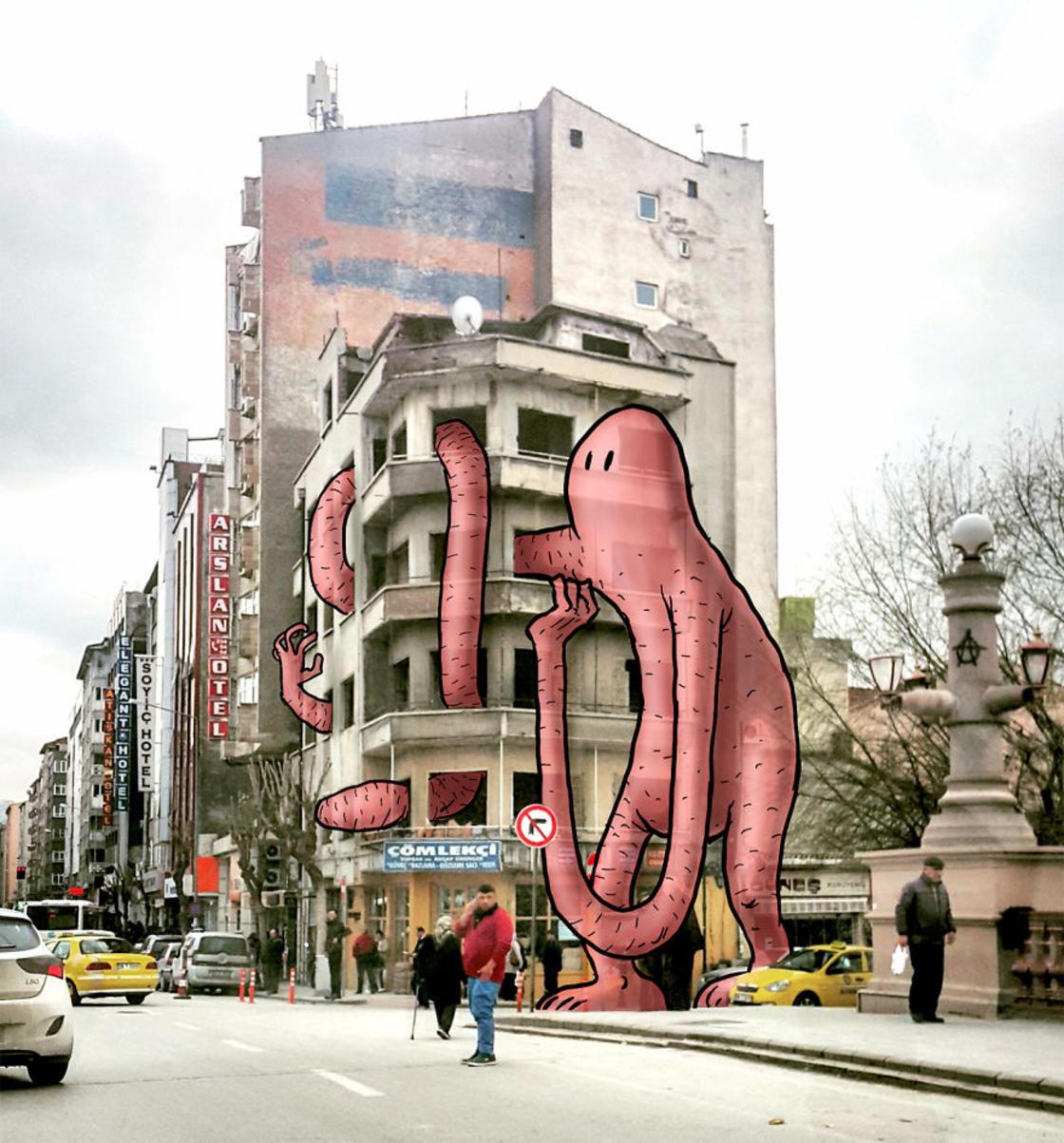 """lilliput series keles monstre immeuble photo - L'illustrateur Hakan Keleş fait entrer des géants dans la ville avec """"Lilliput series"""""""